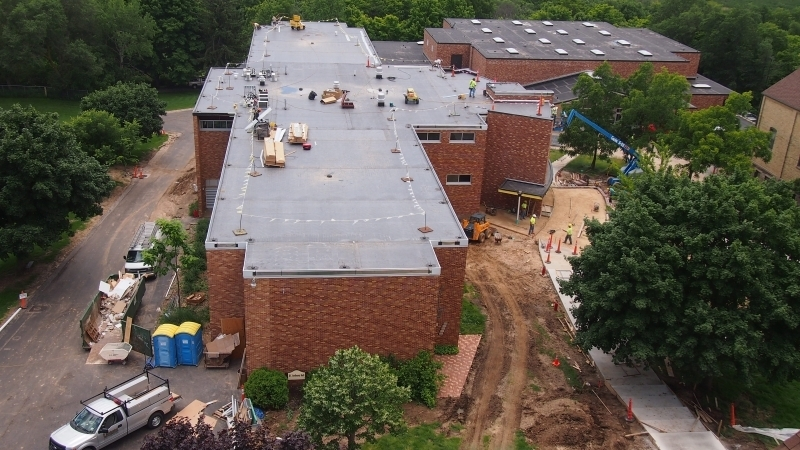 Aerial view of Saint Anthony Hall with new addition