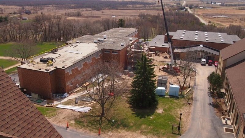 Aerial view of construction site - Spring 2014