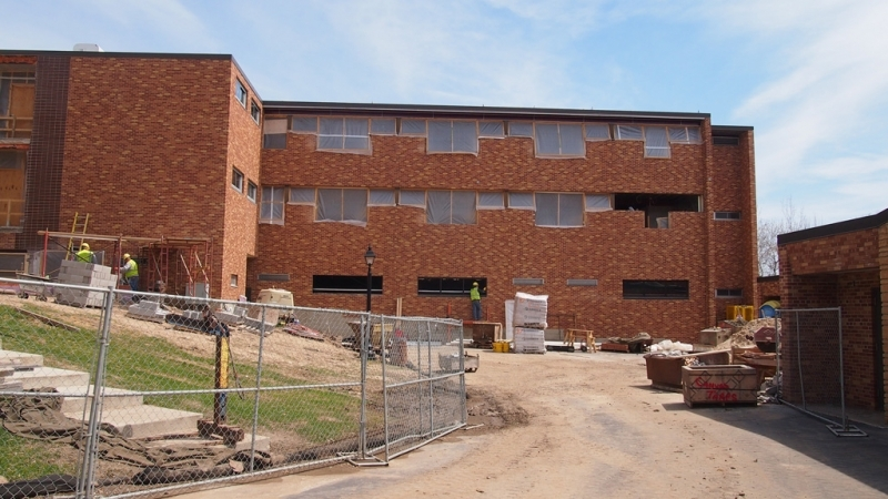 Exterior view of new Saint Anthony Hall windows